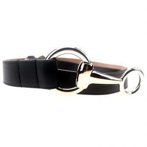 Authentic, New, and Unused Gucci Calfskin Round Buckle Horsebit Belt Black Size85 282349 front view