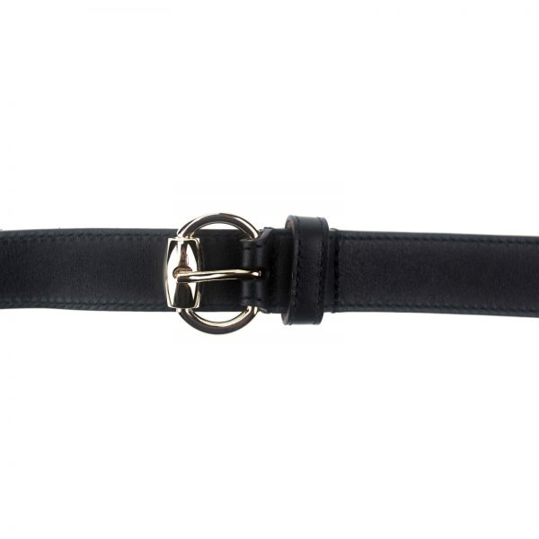 Authentic, New, and Unused Gucci Calfskin Round Buckle Horsebit Belt Black Size85 282349 top view