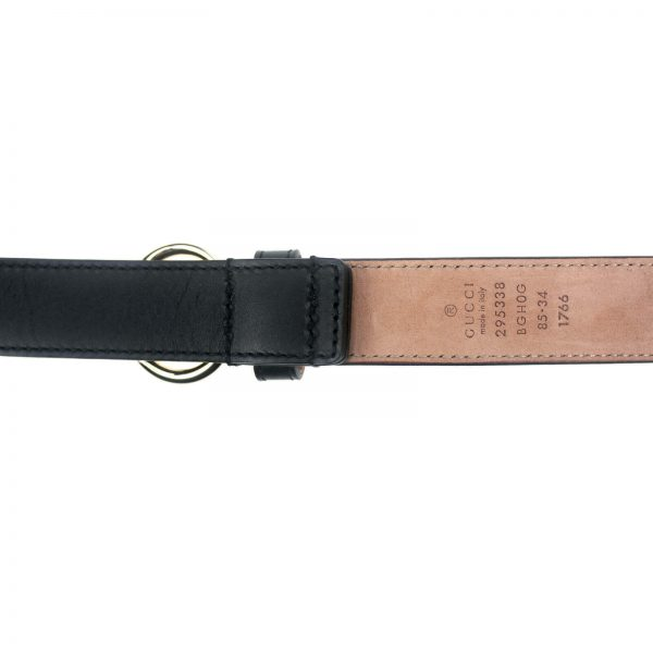 Authentic, New, and Unused Gucci Calfskin Round Buckle Horsebit Belt Black Size85 282349 bottom view with serial number