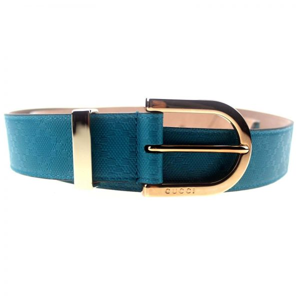 Authentic, New, and Unused Gucci Diamante Turquoise Blue Leather Belt 90B 354382 front view