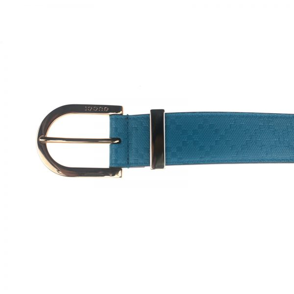 Authentic, New, and Unused Gucci Diamante Turquoise Blue Leather Belt 90B 354382 top view