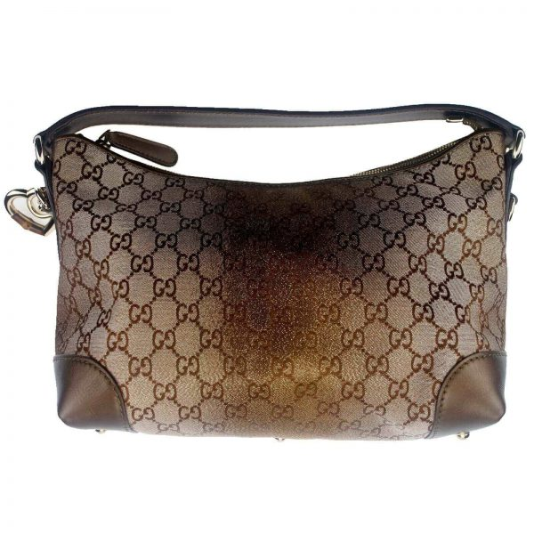 Authentic, New, and Unused Gucci Gold GG Bit Hobo Brown Canvas Satchel Bag 269959 front view