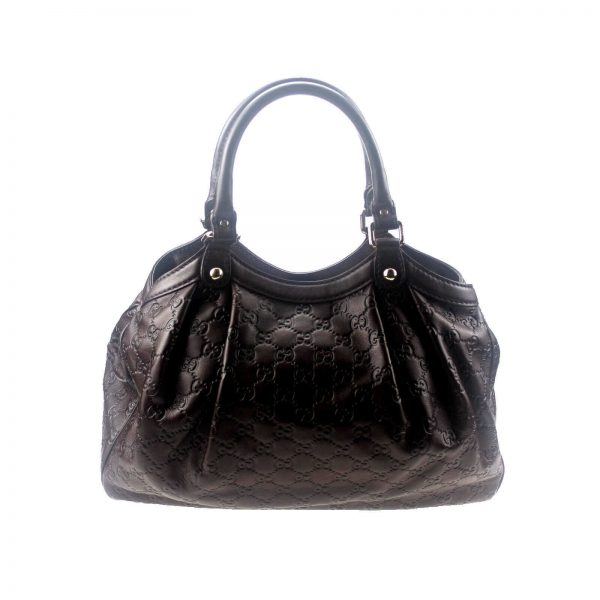 Authentic, New, and Unused Gucci Guccissima Sukey Tote Bag Brown 211944 back view
