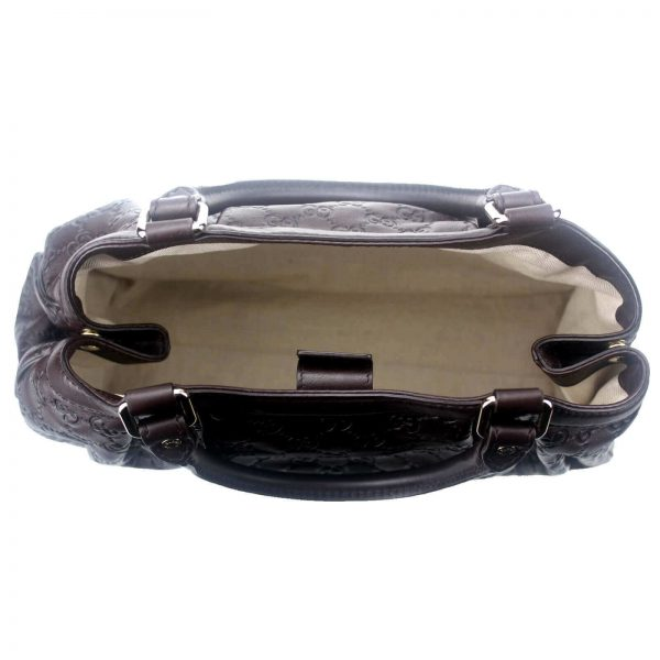 Authentic, New, and Unused Gucci Guccissima Sukey Tote Bag Brown 211944 interior detail