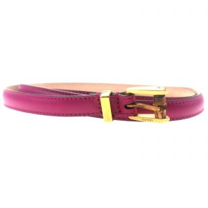 Authentic, New, and Unused Gucci Leather Bamboo Skinny Buckle Belt Fuchsia 100B 339065 front view