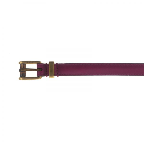 Authentic, New, and Unused Gucci Leather Bamboo Skinny Buckle Belt Fuchsia 100B 339065 top view