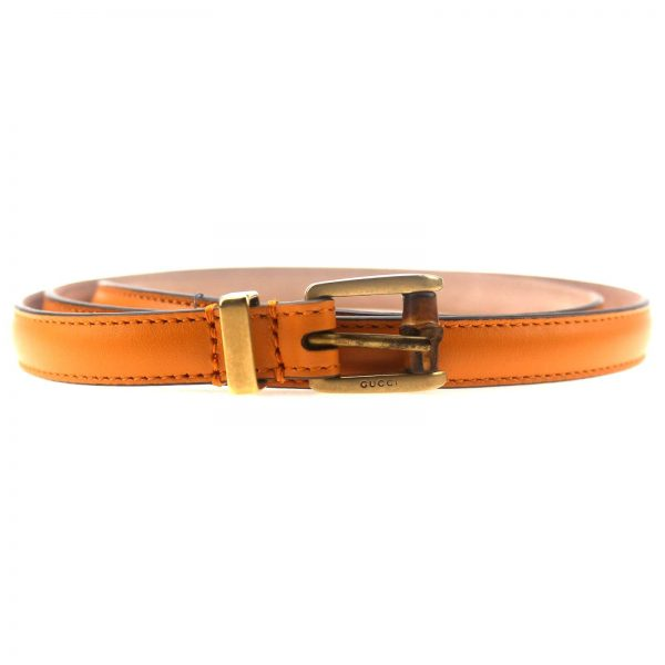 Authentic, New, and Unused Gucci Leather Bamboo Skinny Buckle Belt Orange 90B 339065 front view