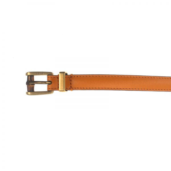 Authentic, New, and Unused Gucci Leather Bamboo Skinny Buckle Belt Orange 90B 339065 top view