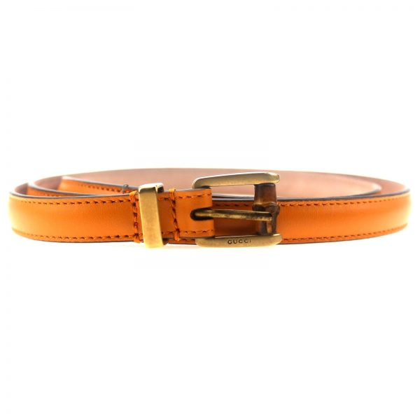 Authentic, New, and Unused Gucci Leather Bamboo Skinny Buckle Belt Orange 95B 339065 front view