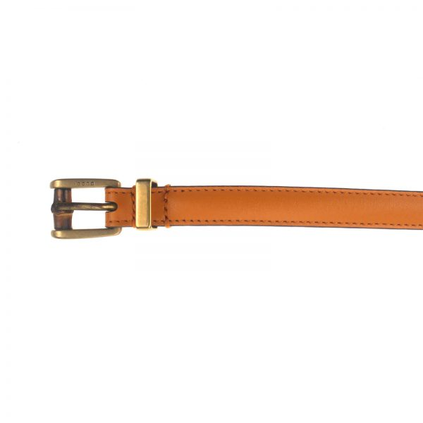 Authentic, New, and Unused Gucci Leather Bamboo Skinny Buckle Belt Orange 95B 339065 top view
