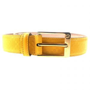 Authentic, New, and Unused Gucci Leather Diamante Square Buckle Belt Yellow 95B 345658 front view