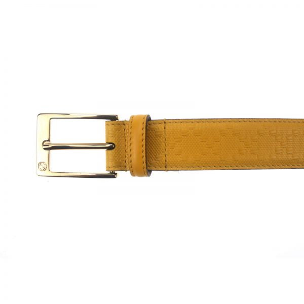 Authentic, New, and Unused Gucci Leather Diamante Square Buckle Belt Yellow 95B 345658 top view