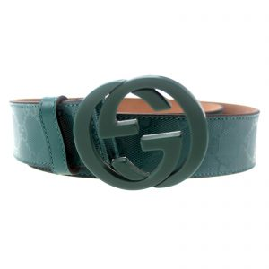 Authentic, New, and Unused Gucci Men's Teal Imprime Interlocking G Buckle Belt 95B 223891 front view