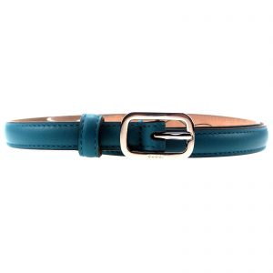 Authentic, New, and Unused Gucci Silver Square Buckle Blue Leather Skinny Belt 90B 354659 front view