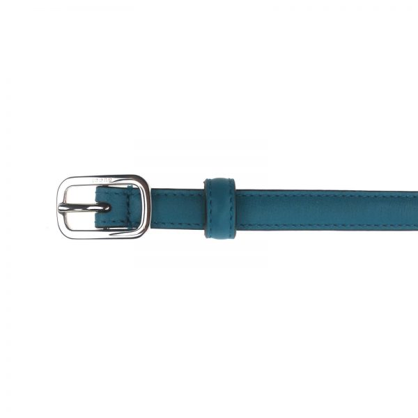 Authentic, New, and Unused Gucci Silver Square Buckle Blue Leather Skinny Belt 90B 354659 top view