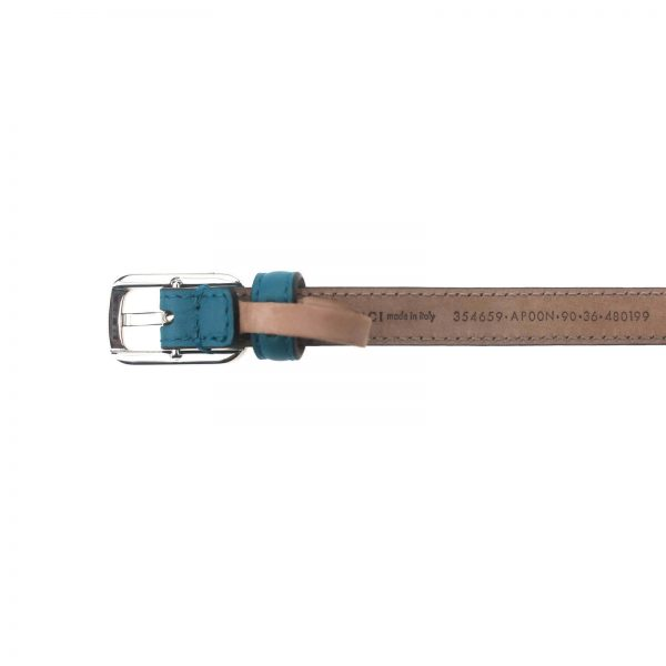 Authentic, New, and Unused Gucci Silver Square Buckle Blue Leather Skinny Belt 90B 354659 bottom view