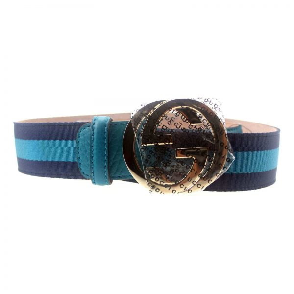 Authentic, New, and Unused Women's Gucci Turquoise and Navy Blue Web Stripe Belt 95B 114876 front view