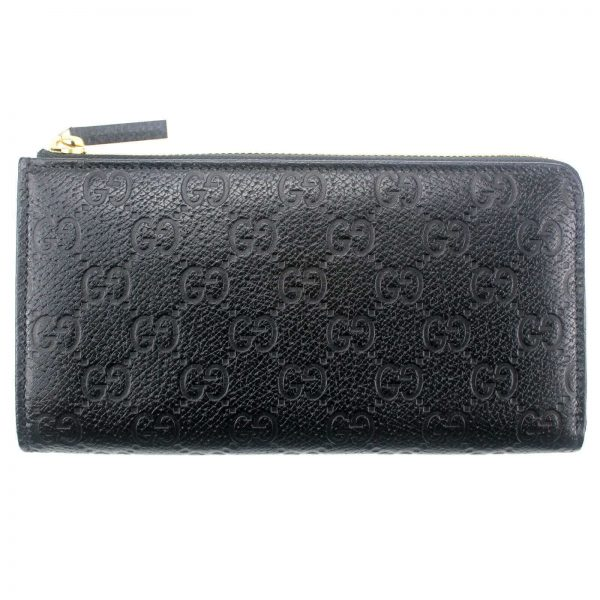 Authentic, New, and Unused Gucci Black Leather GG Guccissima Zip Coin Wallet 332747 front view