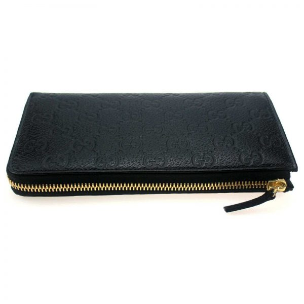 Authentic, New, and Unused Gucci Black Leather GG Guccissima Zip Coin Wallet 332747 zip detail