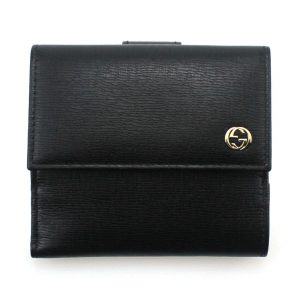 Authentic, New, Unused Gucci Calfskin French Flap Wallet Black 309704 Front View