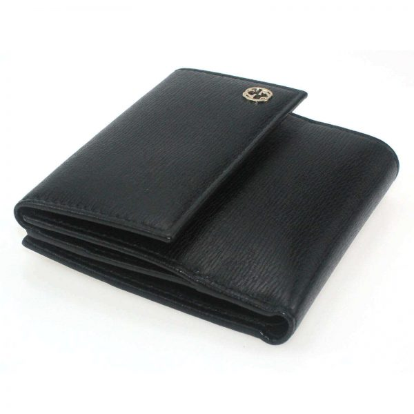Authentic, New, Unused Gucci Calfskin French Flap Wallet Black 309704 left side view