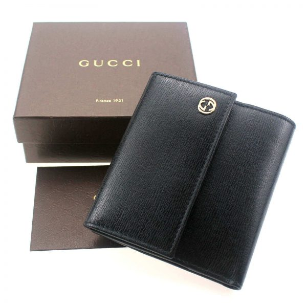 Authentic, New, Unused Gucci Calfskin French Flap Wallet Black 309704 top view