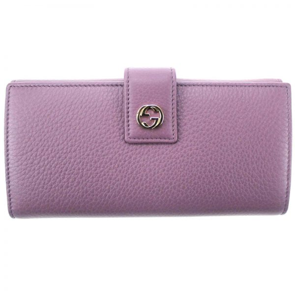 Authentic, New, Unused Women' Gucci GG Leather Interlocking Logo Wallet Pink 337335 front view