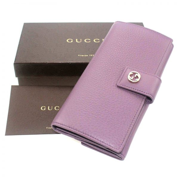 Authentic, New, Unused Women' Gucci GG Leather Interlocking Logo Wallet Pink 337335 top view