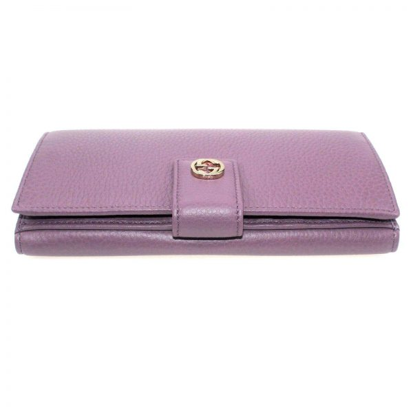 Authentic, New, Unused Women' Gucci GG Leather Interlocking Logo Wallet Pink 337335 top side view