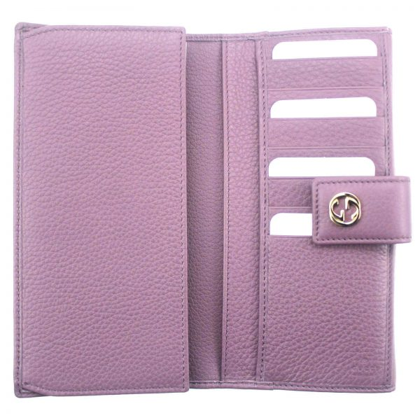 Authentic, New, Unused Women' Gucci GG Leather Interlocking Logo Wallet Pink 337335 open wallet view