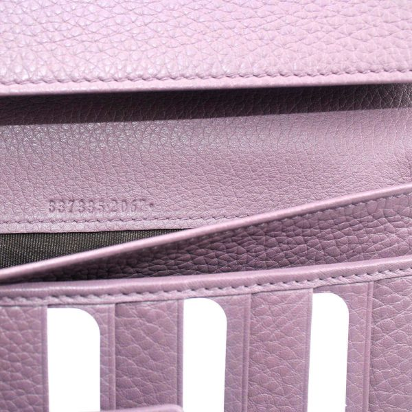 Authentic, New, Unused Women' Gucci GG Leather Interlocking Logo Wallet Pink 337335 interior stamped serial number