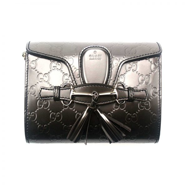 Authentic, New, and Unused Gucci GG Shine Mini Emily Chain Shoulder Bag Sasso 369622 front view