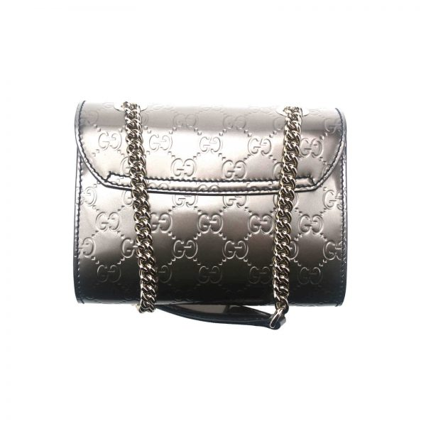 Authentic, New, and Unused Gucci GG Shine Mini Emily Chain Shoulder Bag Sasso 369622 back view