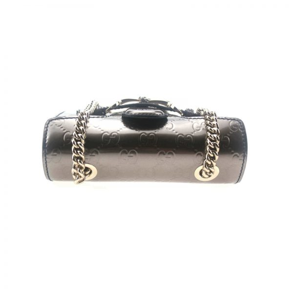 Authentic, New, and Unused Gucci GG Shine Mini Emily Chain Shoulder Bag Sasso 369622 top side view