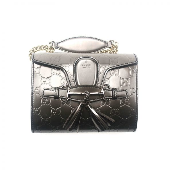 Authentic, New, and Unused Gucci GG Shine Mini Emily Chain Shoulder Bag Sasso 369622 front view with chain