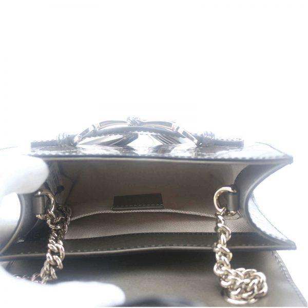 Authentic, New, and Unused Gucci GG Shine Mini Emily Chain Shoulder Bag Sasso 369622 interior view