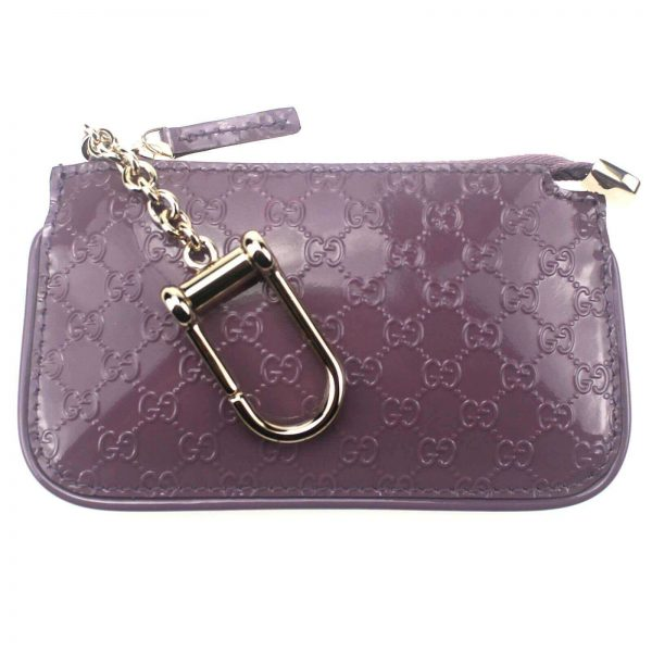 Authentic, New, and Unused Gucci GG Leather Clip Key Case Coin Wallet Pink 233183 front view