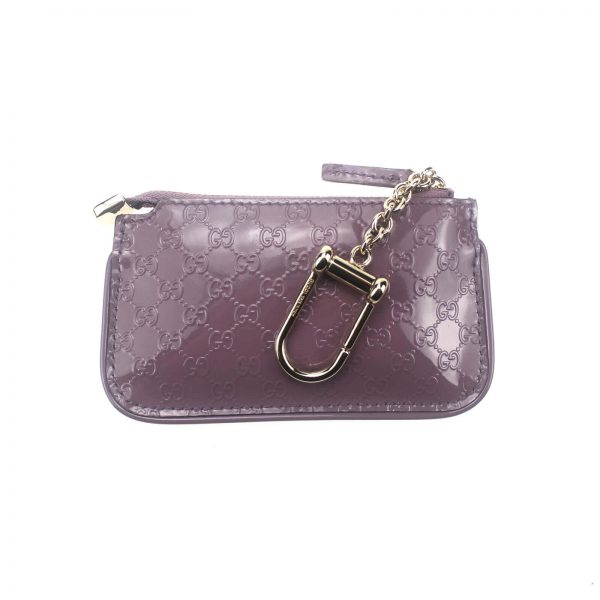 Authentic, New, and Unused Gucci GG Leather Clip Key Case Coin Wallet Pink 233183 back view