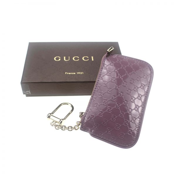 Authentic, New, and Unused Gucci GG Leather Clip Key Case Coin Wallet Pink 233183 top view