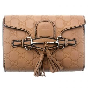 Authentic, New, and Unused Gucci Guccissima Mini Emily Shoulder Bag Beige 369622 front view