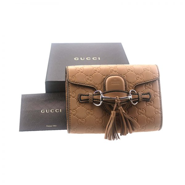 Authentic, New, and Unused Gucci Guccissima Mini Emily Shoulder Bag Beige 369622 top view with Gucci box
