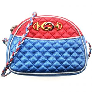Authentic, New, and Unused Gucci Laminate Quilting Shoulder Bag Red Blue Silver Leather 534951 front view