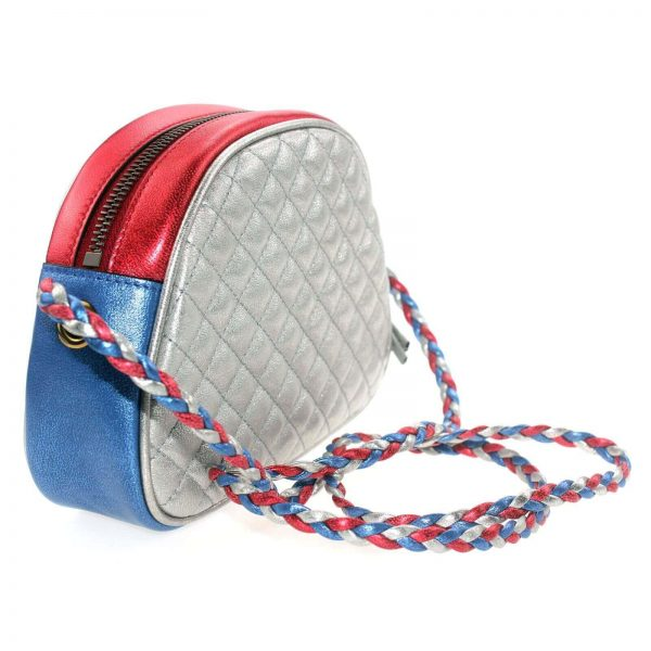 Authentic, New, and Unused Gucci Laminate Quilting Shoulder Bag Red Blue Silver Leather 534951 back view