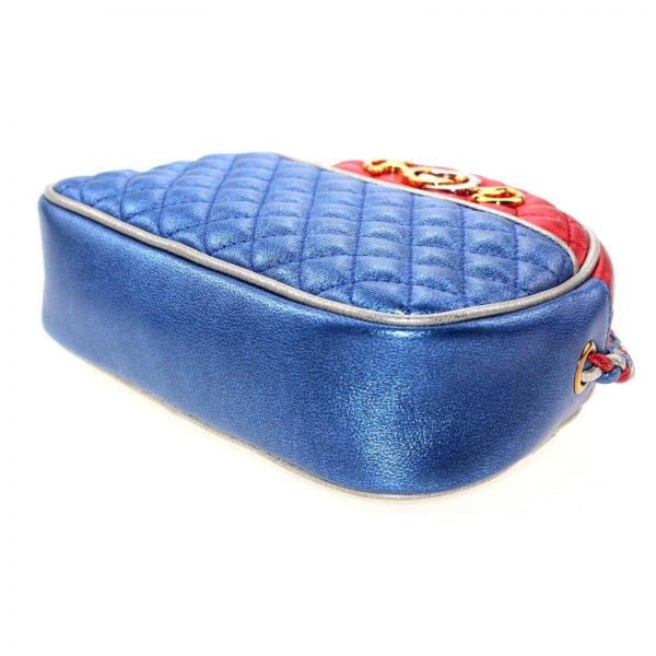 Authentic, New, and Unused Gucci Laminate Quilting Shoulder Bag Red Blue Silver Leather 534951 right bottom side view