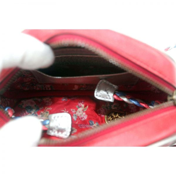 Authentic, New, and Unused Gucci Laminate Quilting Shoulder Bag Red Blue Silver Leather 534951 inside view