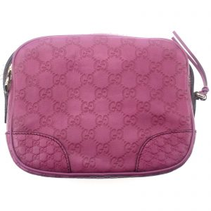Authentic, New, and Unused Gucci Leather Crossbody Bag Pink 387360 front view
