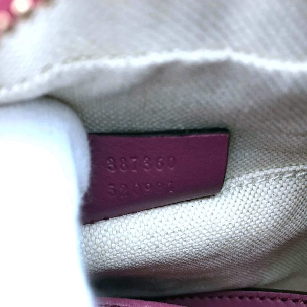 Authentic, New, and Unused Gucci Leather Crossbody Bag Pink 387360 interior serial number