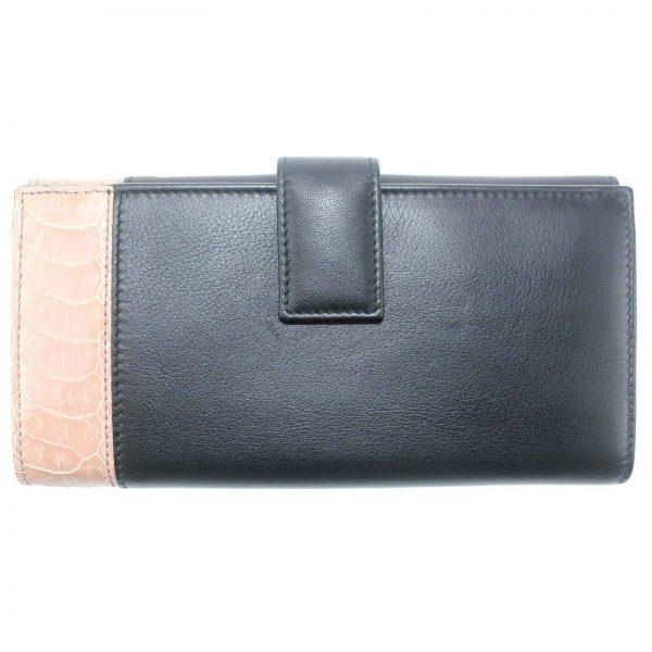 Authentic, New, Unused Gucci Leather Ostrich Claw Continental Clutch Wallet 338186 back view