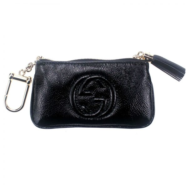 Authentic, New, and Unused Gucci Patent Calfskin Soho Key Case Wallet Black 354358 front view