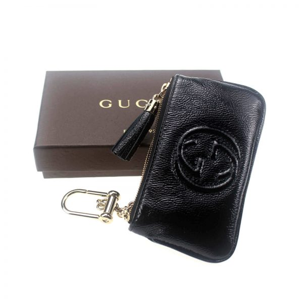 Authentic, New, and Unused Gucci Patent Calfskin Soho Key Case Wallet Black 354358 top view